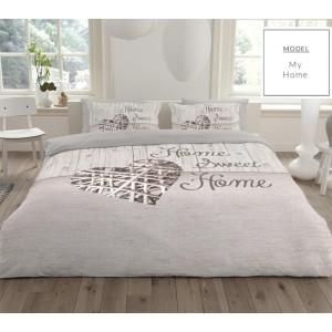Béžové bavlnené posteľné obliečky Home Sweet Home
