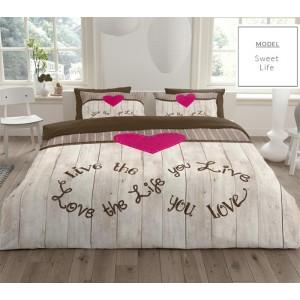 Bavlnené posteľné obliečky s ružovým srdcom
