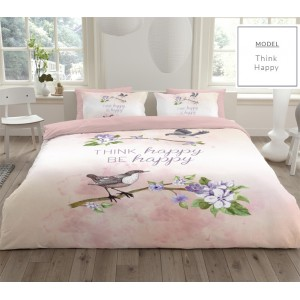 Krémové bavlnené posteľné obliečky s motívom vtáčika