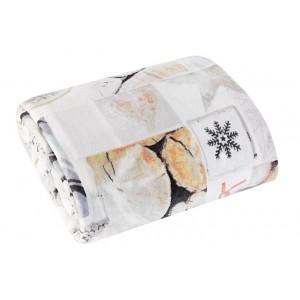 Krémová deka s motívom vločiek