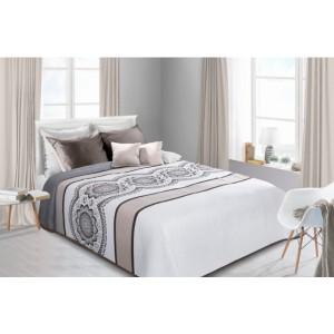 Obojstranné biele prehozy na posteľ so vzorom