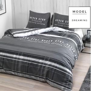Sivé bavlnené posteľné obliečky s nápismi