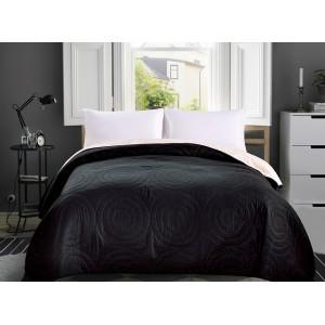 Čierny obojstranný prehoz na posteľ s kruhmi