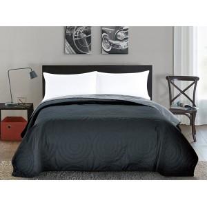 Sivé obojstranné prehozy na posteľ so vzorom kruhov