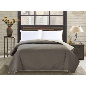 Obojstranné prehozy na posteľ v khaki farbe
