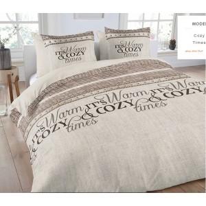 Béžové návliečky na posteľ s nápisom