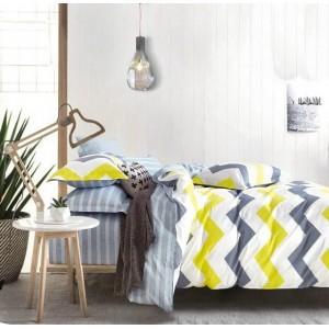 Biele obojstranné posteľné obliečky s cik cak vzorom