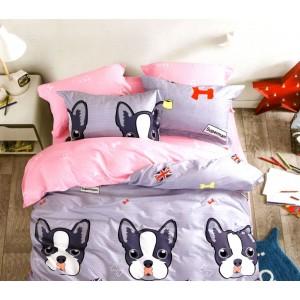 Fialové detské posteľné obliečky so vzorom psa