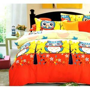 Žlté detské posteľné obliečky so sovou