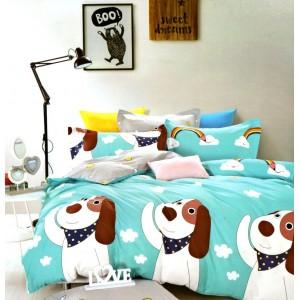Modré posteľné obliečky so psíkom