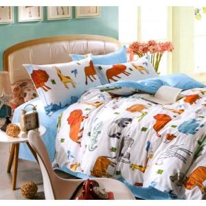 Modré posteľné obliečky s motívom zvierat