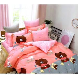 Ružové posteľné návliečky s motívom medvedíkov