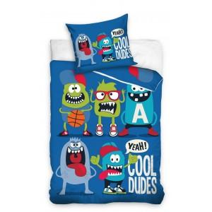 Modré posteľné obliečky s príšerkami