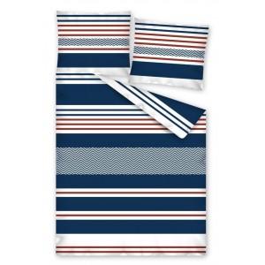 Modré posteľné návliečky s pruhmi
