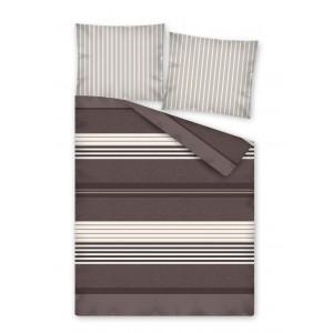 Hnedé posteľné obliečky s pruhmi
