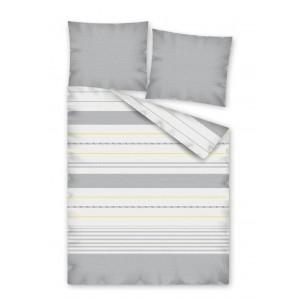 Pruhované posteľné obliečky bielej farby