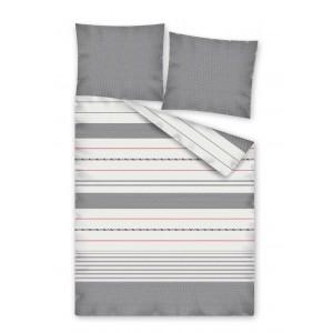 Sivé posteľné obliečky so vzorom pruhov