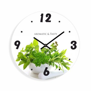Kuchynské nástenné hodiny s bylinkami