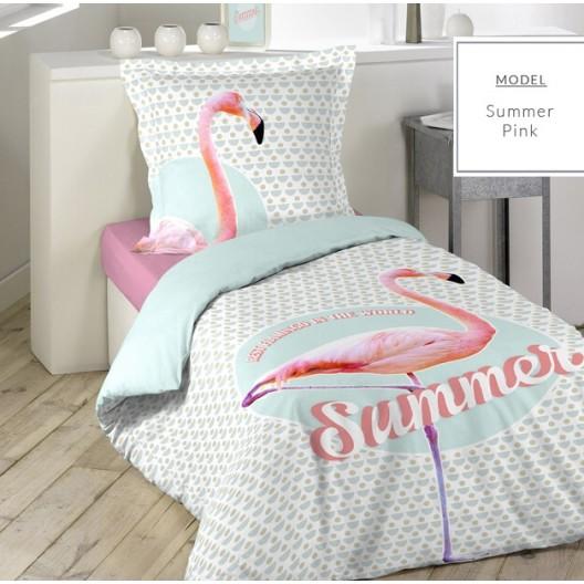 Biele posteľné obliečky s plameniakom