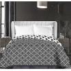 Biely obojstranný prehoz na posteľ s geometrickými vzormi