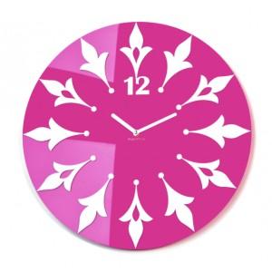Zelené nástenné hodiny s kvetinovým motívom