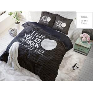 Kvalitné čierne posteľné obliečky s citátom