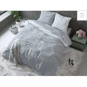Bavlnené sivé posteľné obliečky You and Me