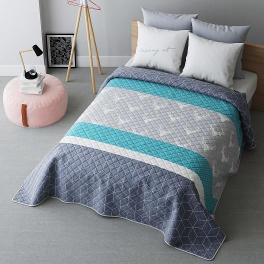 Moderný tyrkysový prehoz na posteľ na dvojlôžko