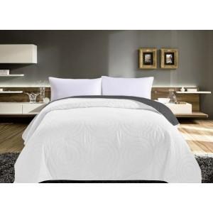Krémová prikrývka na posteľ s kruhovým prešívaním