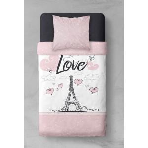 Paríž posteľné obliečky ružovej farby