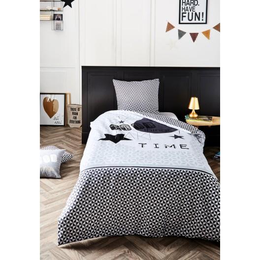 Bavlnené sivé posteľné obliečky s nápisom