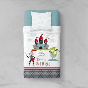 Biele detské posteľné obliečky s rytierom