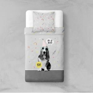 Sivé posteľné obliečky so psom