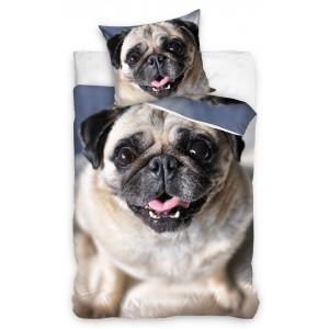 Modrá detská posteľná obliečka s motívom psa