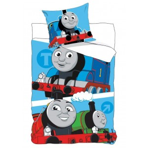 Detské modré posteľné obliečky s lokomotívou