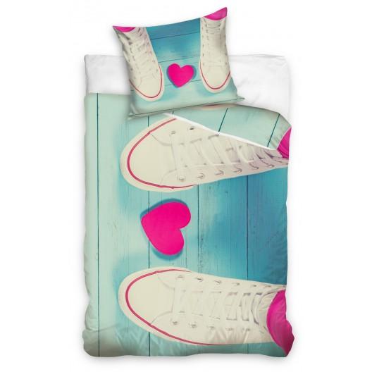 Modré bavlnené posteľné obliečky so srdcom