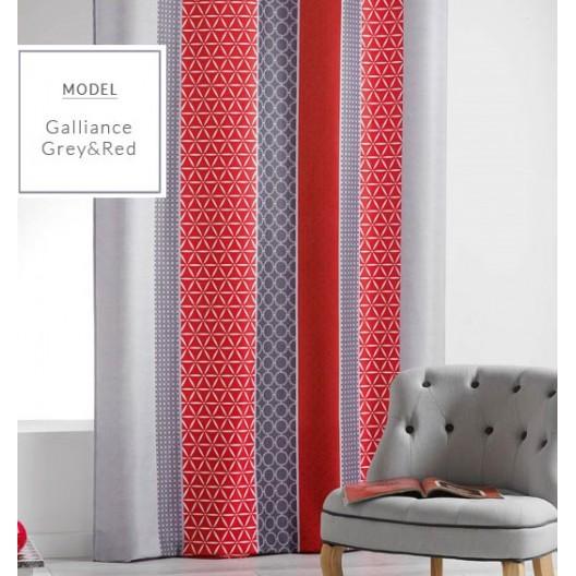 Červený záves v škandinávskom štýle s abstraktným motívom