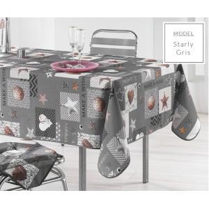 Moderný obrus na kuchynský stôl sivej farby