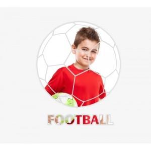 Okrúhle zrkadlo na stenu s futbalovým motívom