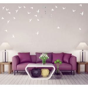 Dekoračné interiérové zrkadlá vo vzore vtákov