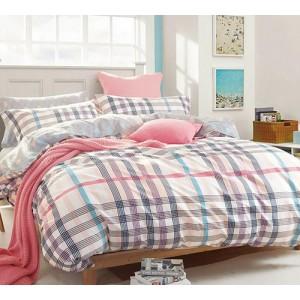 Kárované posteľné obliečky krémovej farby