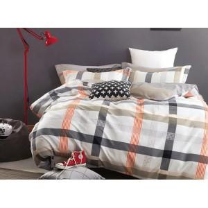 Biele posteľné obliečky s károvaným vzorom