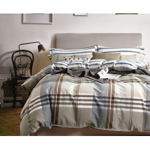Béžové posteľné obliečky s károvaným motívom