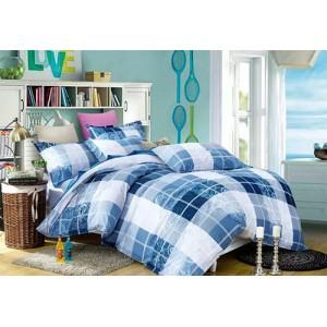 Vzorované posteľné obliečky modrej farby