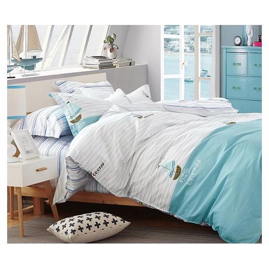 Biele posteľné obliečky s motívom lodí