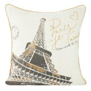 Krémová obliečka na vankúš s motívom Paris