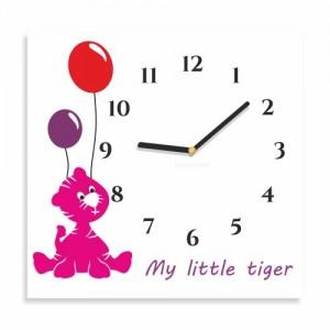 Štvorcové hodiny na stenu s tigríkom