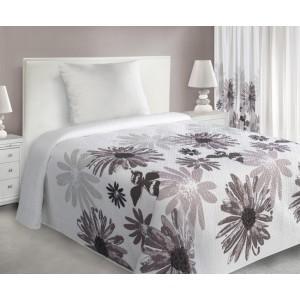 Biele prehozy na posteľ s motívom kvetov