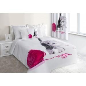 Biele prešívané prehozy na posteľ s mačičkou