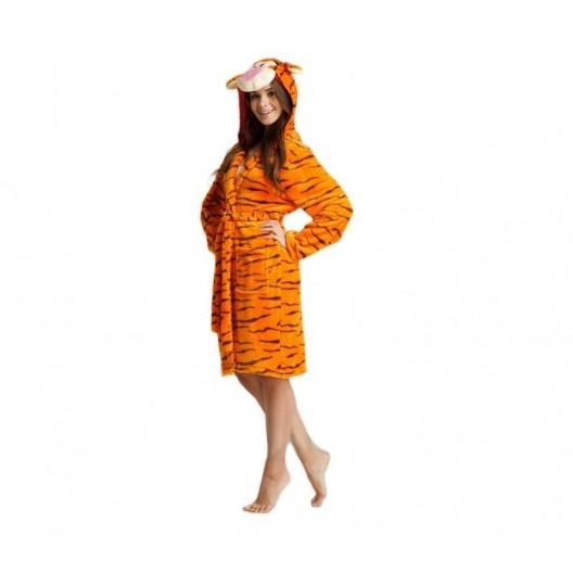 Dámsky župan oranžovej farby s motívom tigra